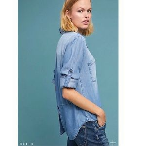 Cloth & Stone Distressed Chambray Utility  Shirt
